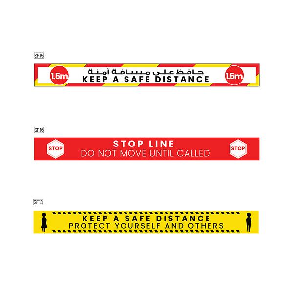 Safe distance floor stickers
