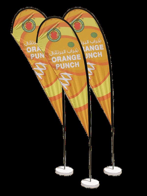Advertising eye drop flag display