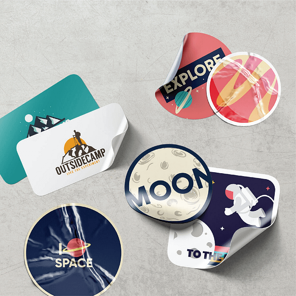 Mock up paper stickers